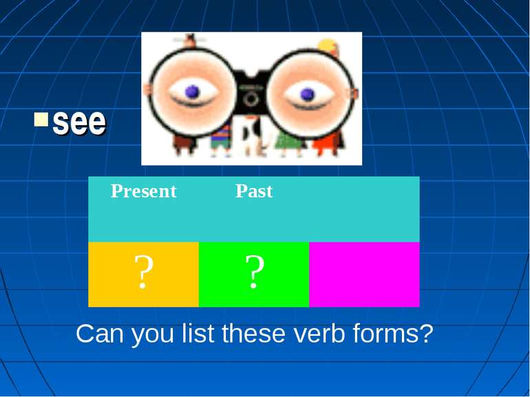 see Can you list these verb forms? Present Past ? ?