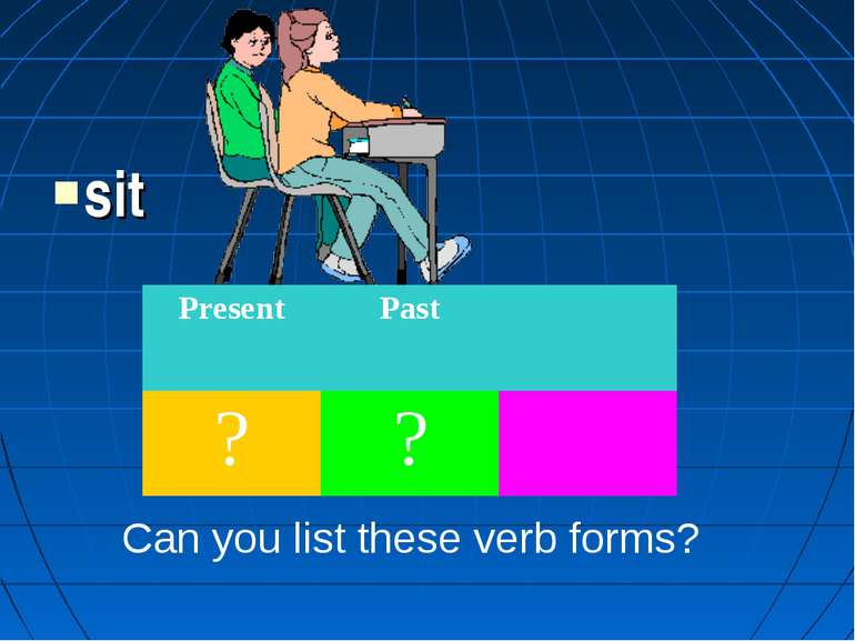 sit Can you list these verb forms? Present Past ? ?