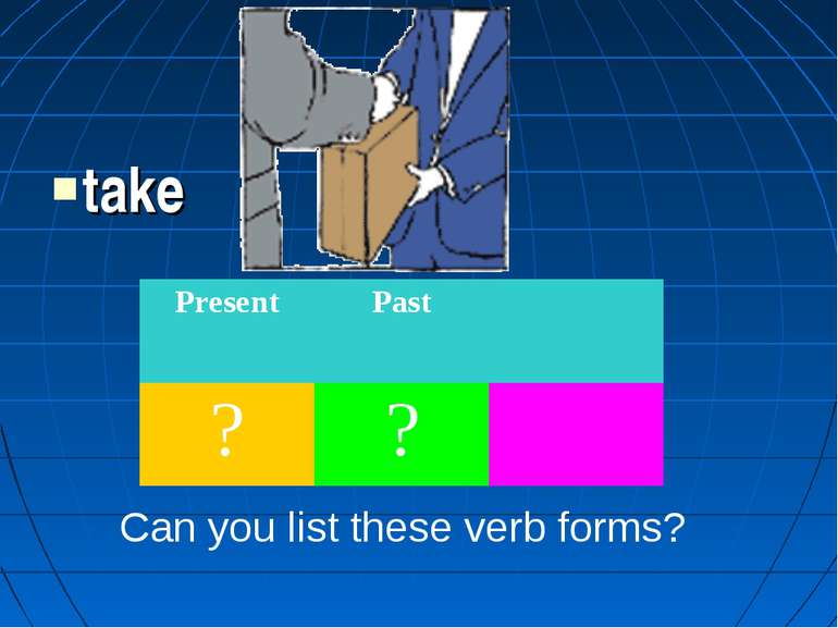 take Can you list these verb forms? Present Past ? ?