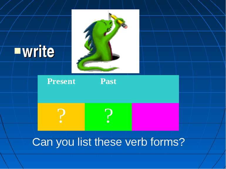write Can you list these verb forms? Present Past ? ?