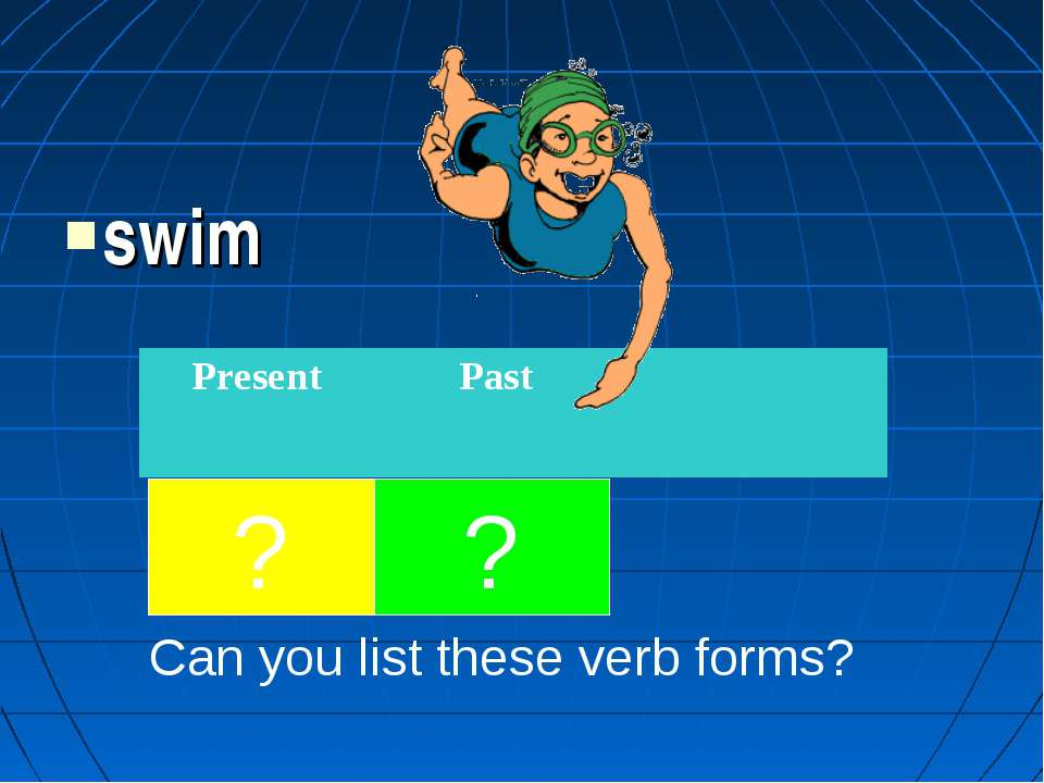 swim ? ? Can you list these verb forms? Present Past swims swam