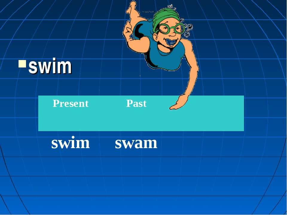 swim Present Past swim swam