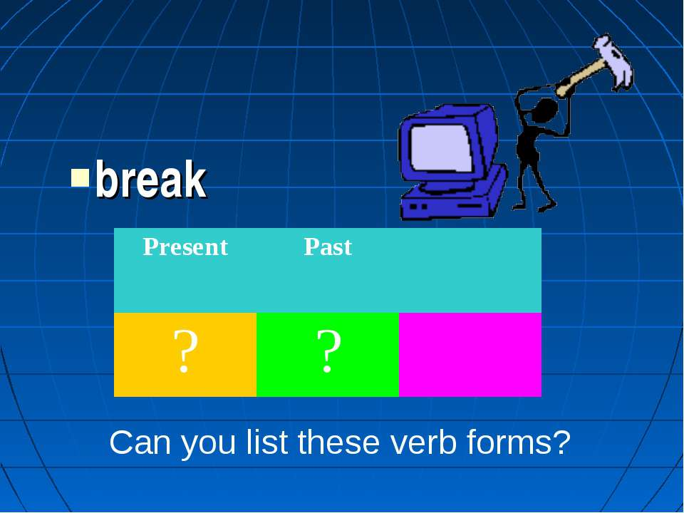 break Can you list these verb forms? Present Past ? ?