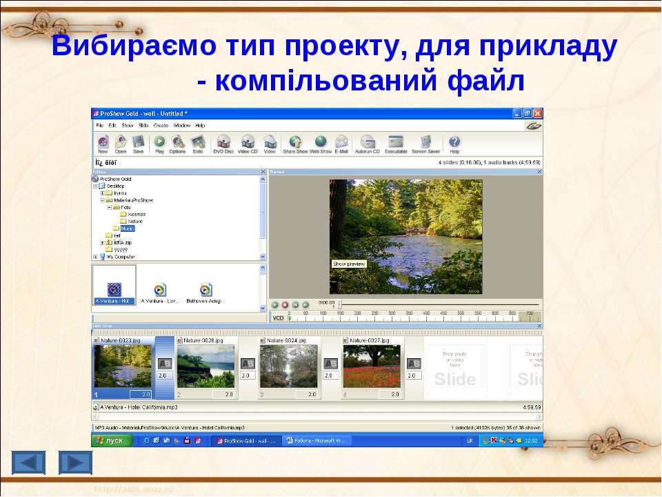 Вибираємо тип проекту, для прикладу - компільований файл