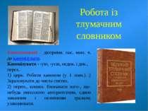 Робота із тлумачним словником Канонізований - дієприкм. пас. мин. ч. до канон...