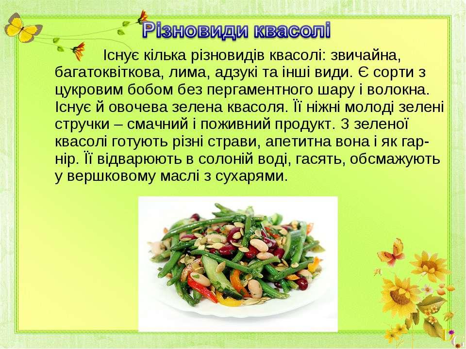 Існує кілька різновидів квасолі: звичайна, багатоквіткова, лима, адзукі та ін...