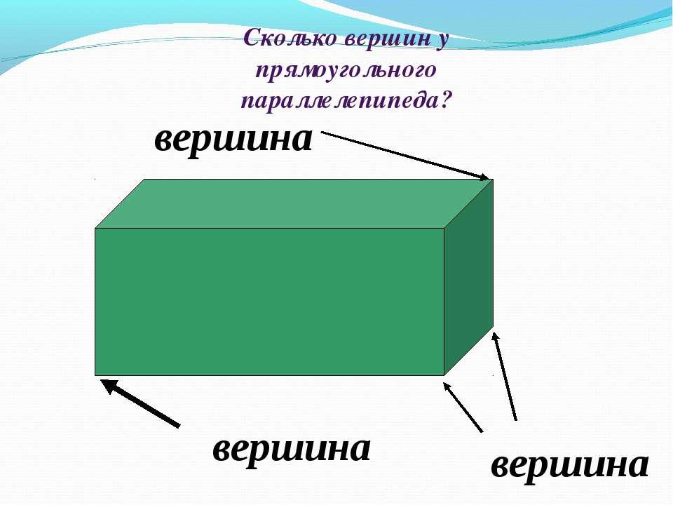 Сколько вершин у прямоугольного параллелепипеда? вершина вершина вершина