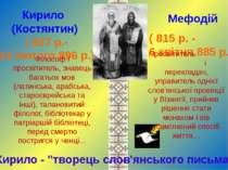 Кирило (Костянтин) Мефодій ( 827 р.- 14 лютого 896 р.) ( 815 р. - 6 квітня 88...