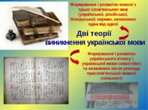 Дві теорії виникнення української мови Формування і розвиток кожної з трьох с...