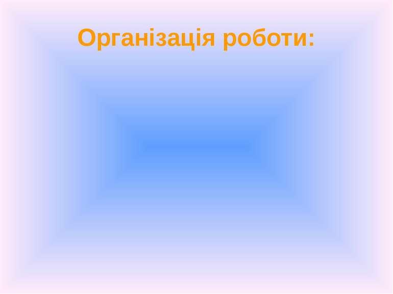 Організація роботи: