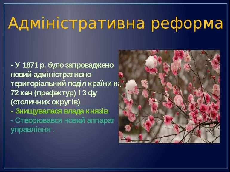Адміністративна реформа - У 1871 р. було запроваджено новий адміністративно-т...
