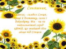 Соняшник Соняшник - символ Сонця, праці й достатку, сили і добробуту. Він - ч...