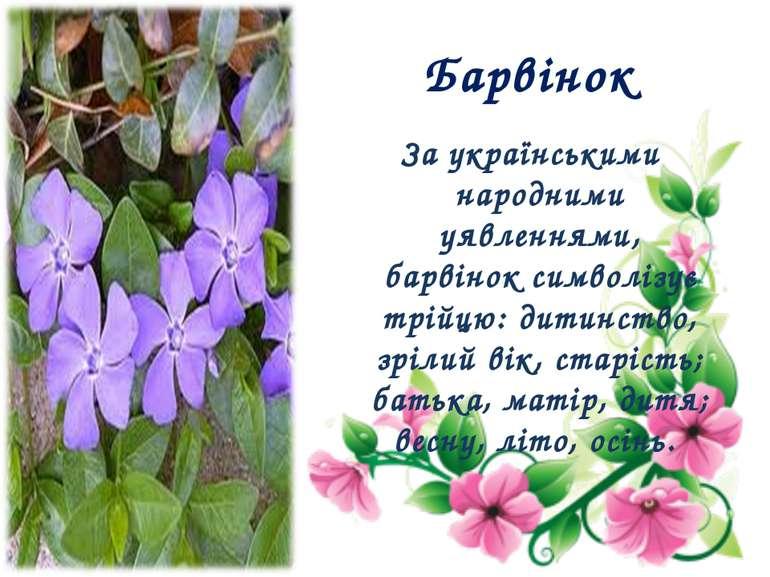 Барвінок За українськими народними уявленнями, барвінок символізує трійцю: ди...