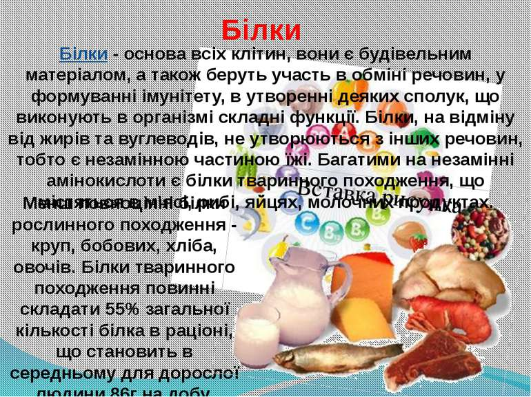 Менш повноцінні білки рослинного походження - круп, бобових, хліба, овочів. Б...