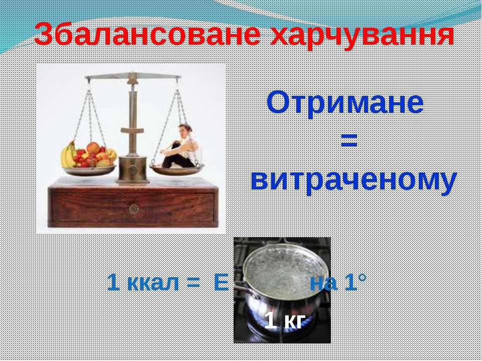 1 ккал = Е на 1° 1 кг Збалансоване харчування Отримане = витраченому