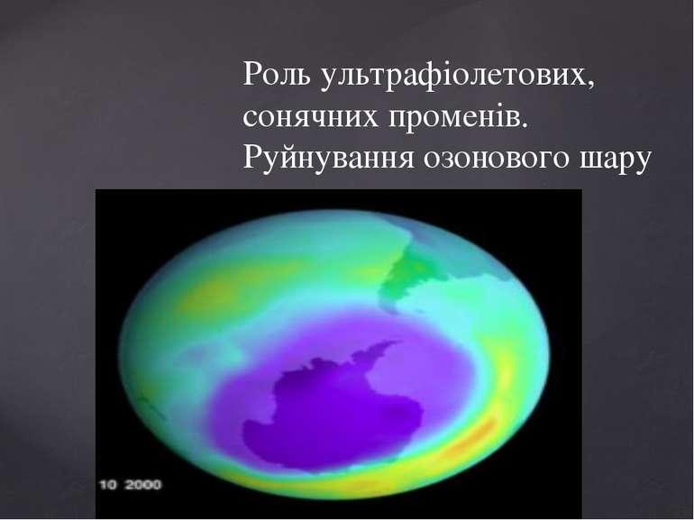Роль ультрафіолетових, сонячних променів. Руйнування озонового шару {