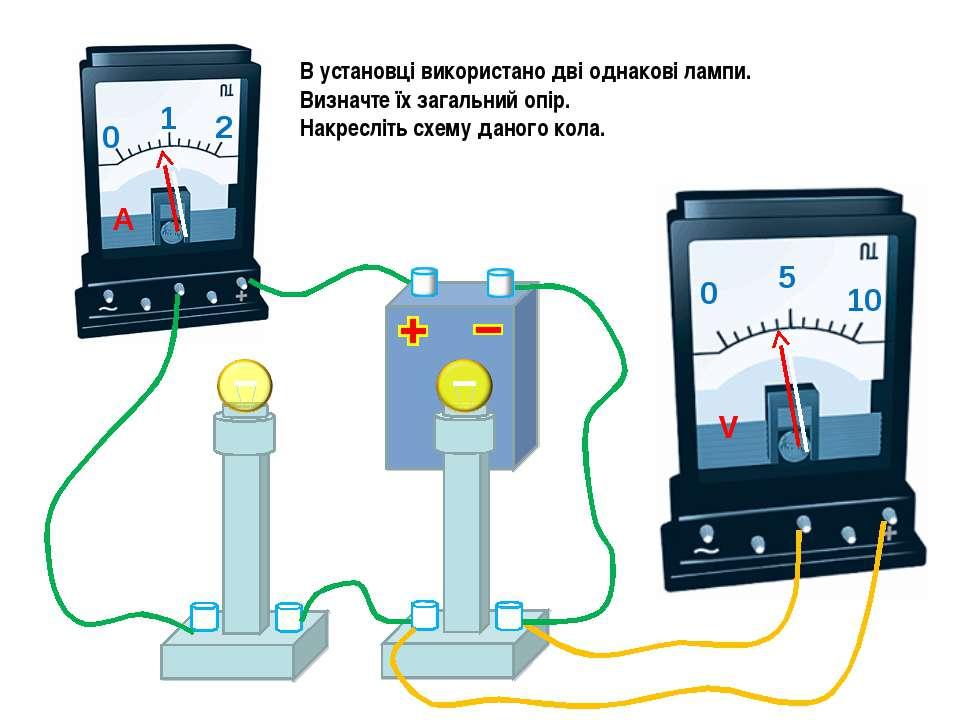 В установці використано дві однакові лампи. Визначте їх загальний опір. Накре...