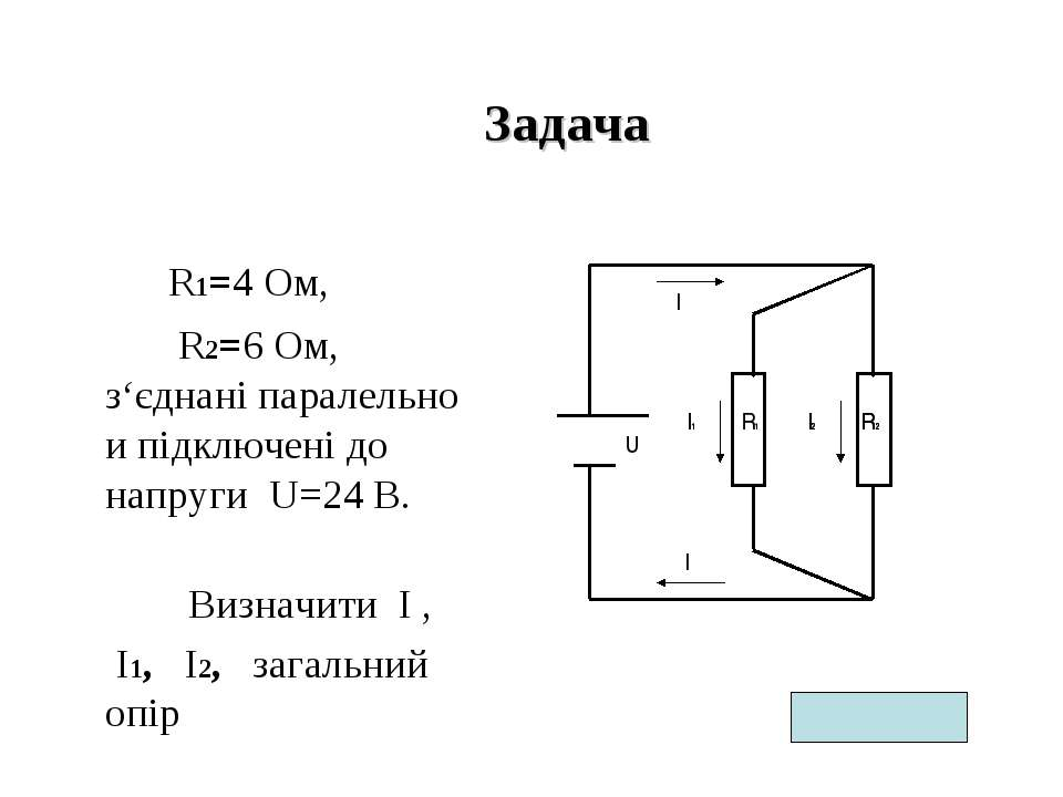Задача R1=4 Ом, R2=6 Ом, з'єднані паралельно и підключені до напруги U=24 В. ...