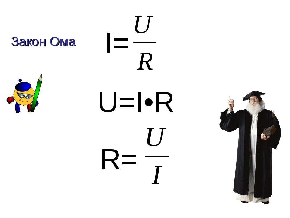 I= U=I•R R= Закон Ома