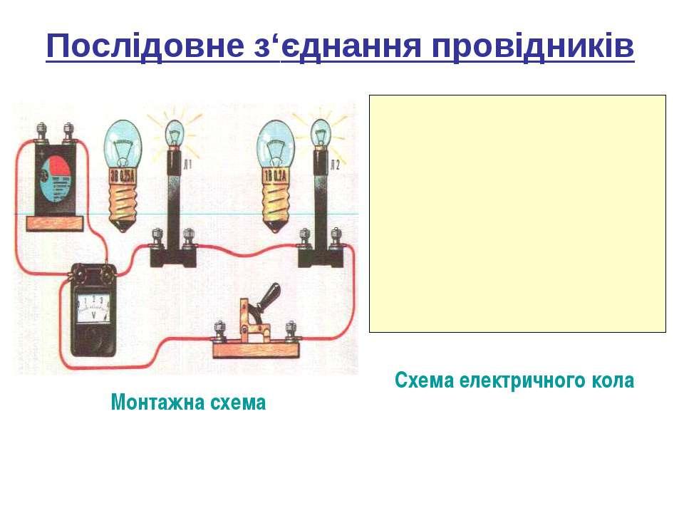 Послідовне з'єднання провідників Схема електричного кола Монтажна схема