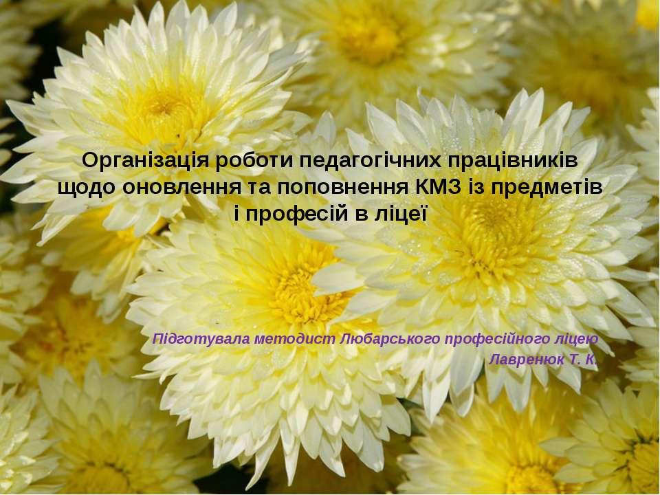 Організація роботи педагогічних працівників щодо оновлення та поповнення КМЗ ...