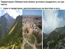 Территорию Узбекистана можно условно разделить на три части: горы и предгорья...