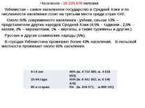 Население - 28 233 476 человек Узбекистан – самое населенное государство в Ср...