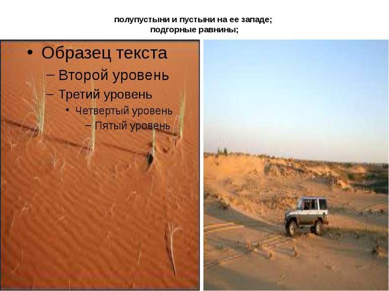 полупустыни и пустыни на ее западе; подгорные равнины;