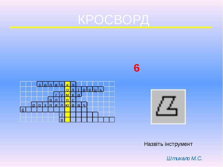 КРОСВОРД 6 Назвіть інструмент Штикало М.С.
