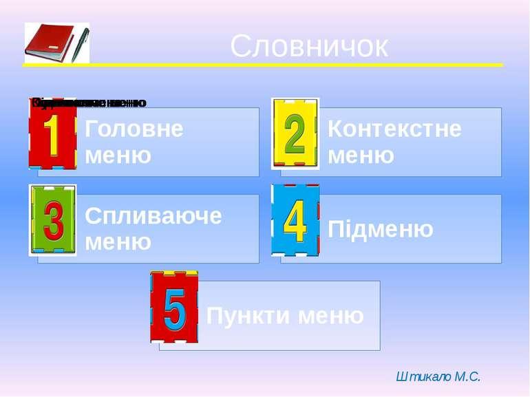 Словничок Штикало М.С.