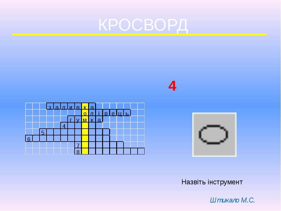 КРОСВОРД 4 Назвіть інструмент Штикало М.С.
