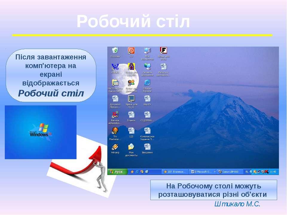Робочий стіл Після завантаження комп'ютера на екрані відображається Робочий с...