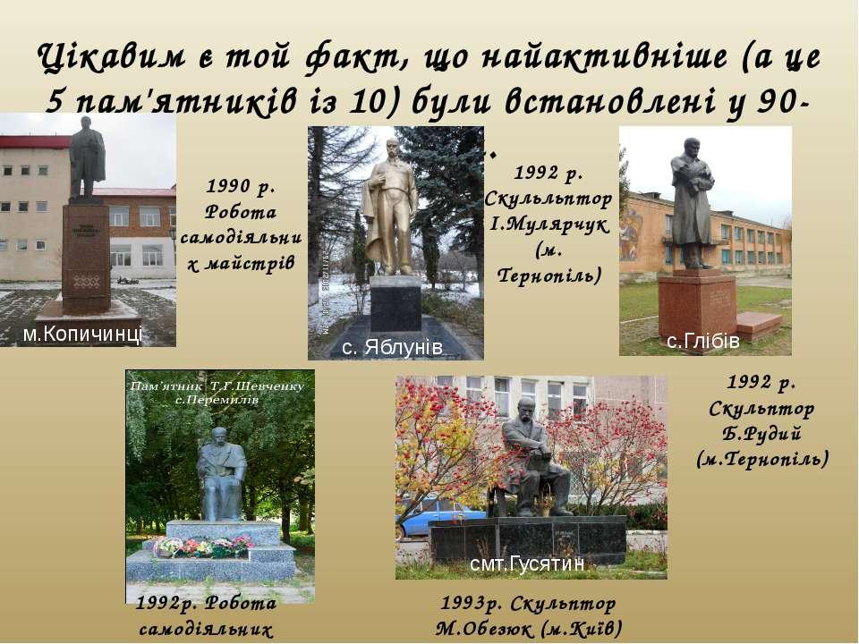 Цікавим є той факт, що найактивніше (а це 5 пам'ятників із 10) були встановле...