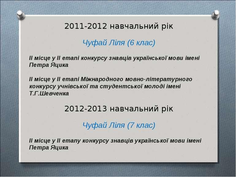 2011-2012 навчальний рік Чуфай Ліля (6 клас) ІІ місце у ІІ етапі конкурсу зна...