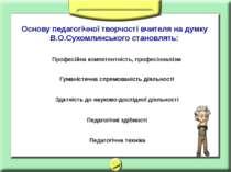 Основу педагогічної творчості вчителя на думку В.О.Сухомлинського становлять:...