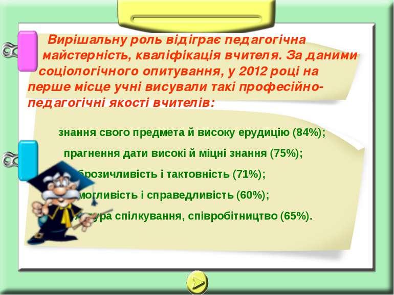 знання свого предмета й високу ерудицію (84%); прагнення дати високі й міцні ...