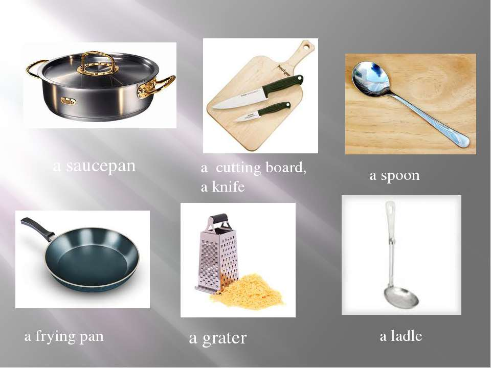 a cutting board, a knife a saucepan a spoon a frying pan a grater a ladle