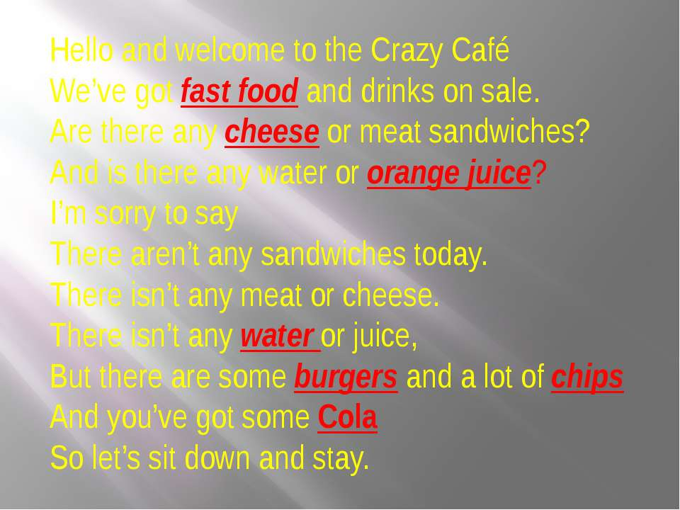 Hello and welcome to the Crazy Café We've got fast food and drinks on sale. A...