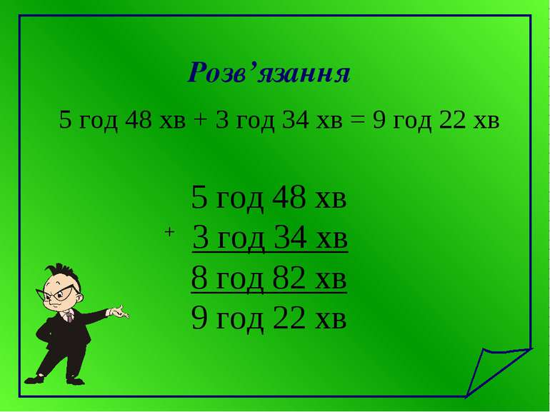 Розв'язання 5 год 48 хв + 3 год 34 хв = 9 год 22 хв 5 год 48 хв + 3 год 34 хв...
