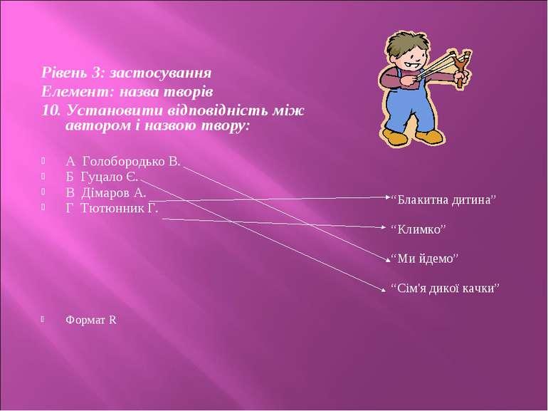 Рівень 3: застосування Елемент: назва творів 10. Установити відповідність між...