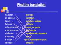 Find the translation An actor вистава an actress комедія to act розвага, заба...
