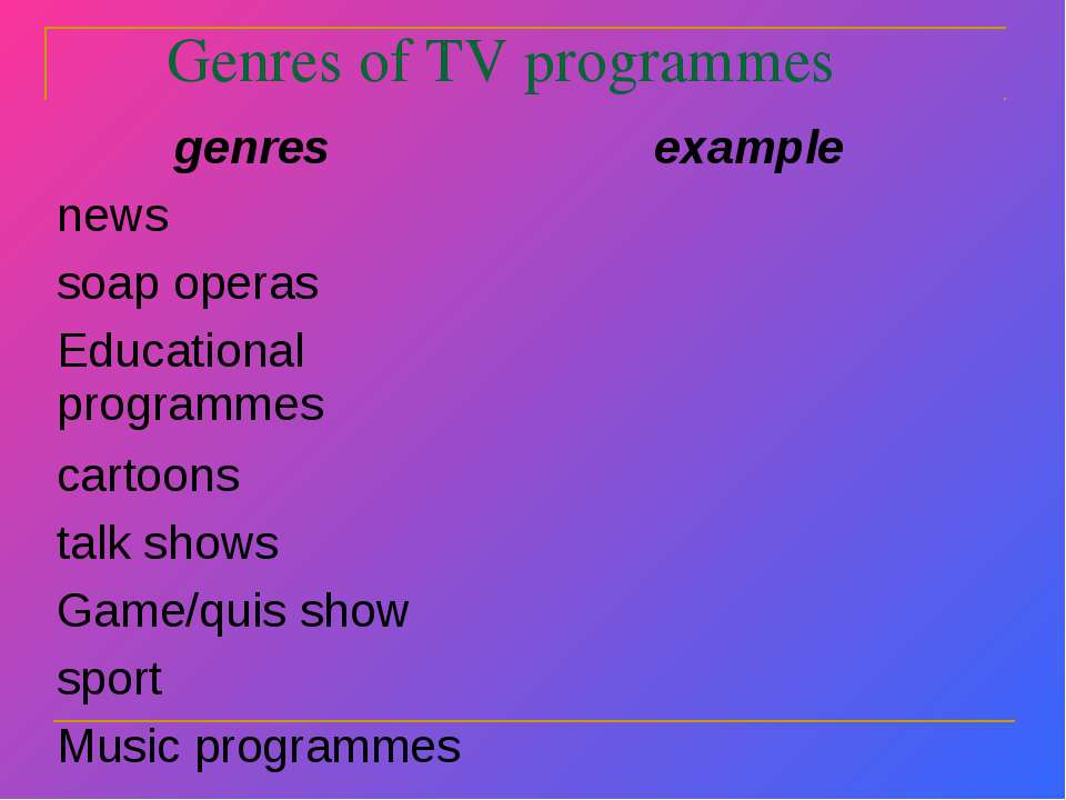 Genres of TV programmes
