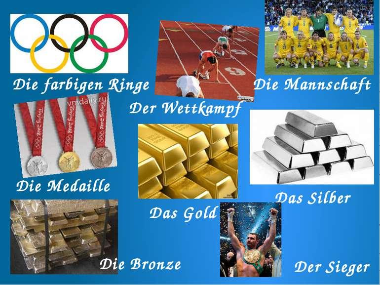Die farbigen Ringe Der Wettkampf Die Mannschaft Die Medaille Das Gold Das Sil...