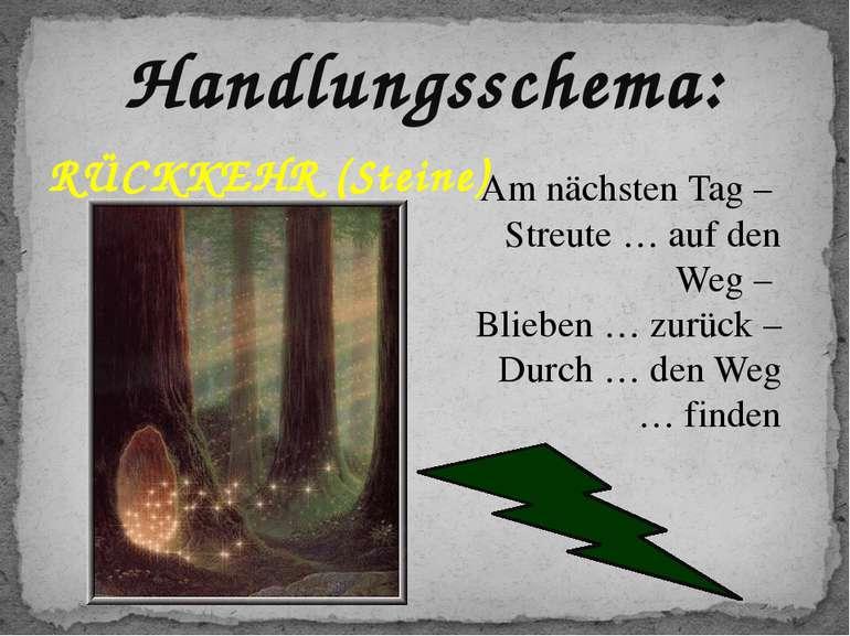 Handlungsschema: RÜCKKEHR (Steine) Am nächsten Tag – Streute … auf den Weg – ...