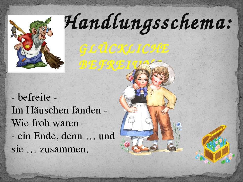 Handlungsschema: GLÜCKLICHE BEFREIUNG - befreite - Im Häuschen fanden - Wie f...