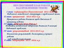 І етап: інформаційно-діагностичний 2011-2012 н.р. Вивчення методичної літерат...