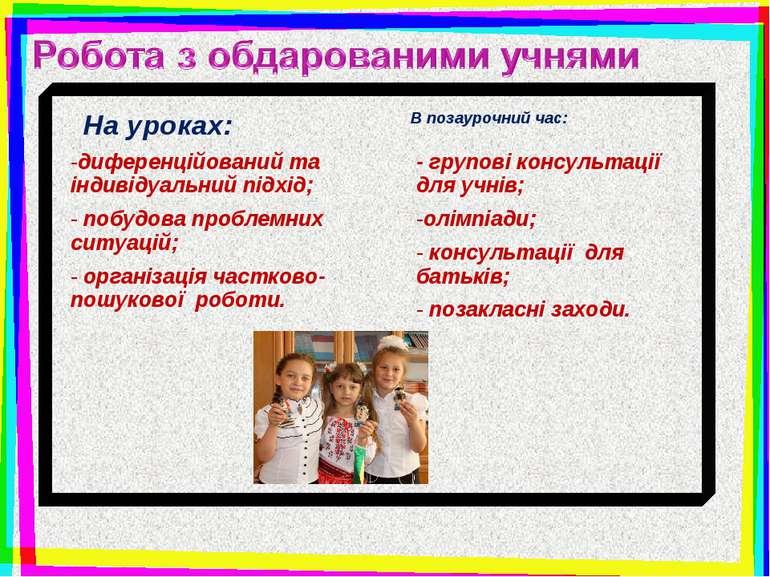 диференційований та індивідуальний підхід; побудова проблемних ситуацій; орга...