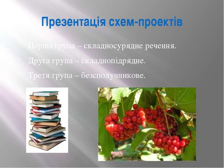 Презентація схем-проектів Перша група – складносурядне речення. Друга група –...
