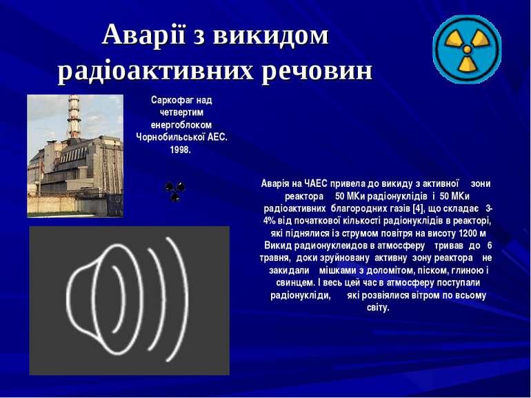 Аварії з викидом радіоактивних речовин Саркофаг над четвертим енергоблоком Чо...