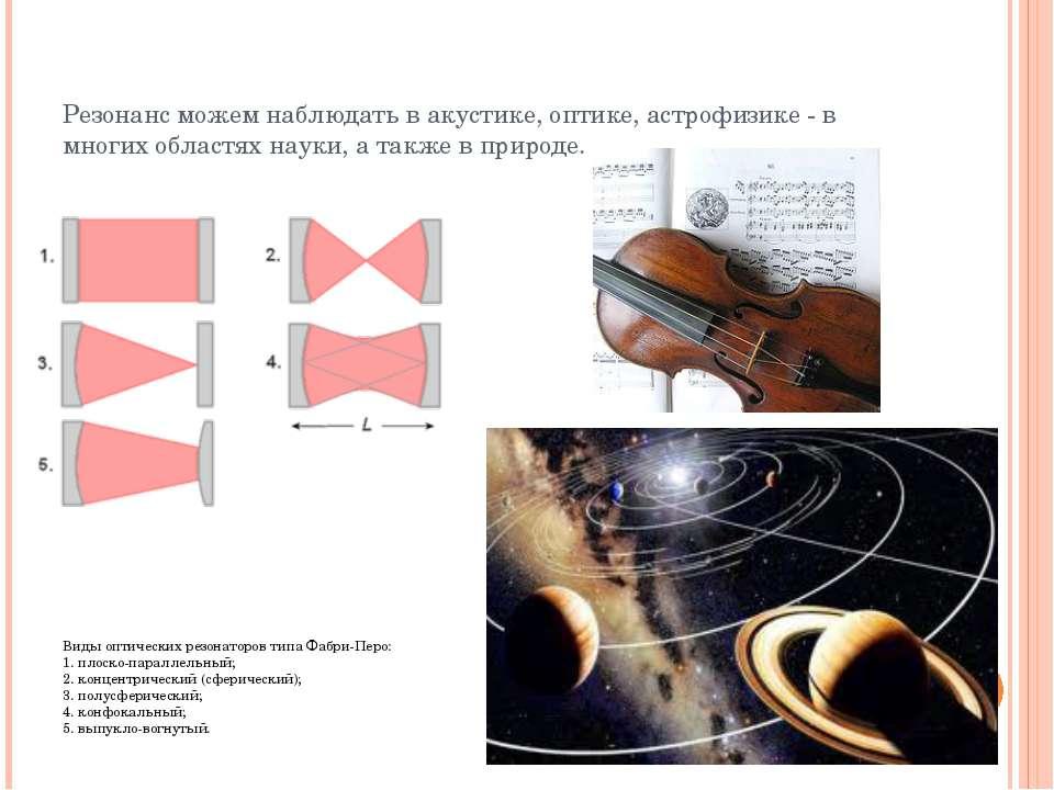 Резонанс можем наблюдать в акустике, оптике, астрофизике - в многих областях ...